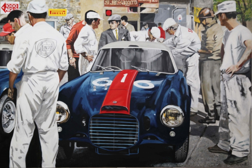 Mille Miglia 1953, Lancia D20 driven by Barovero and Biondetti.|Original oil on linen canvas painting by artist Paul Smith.|72 x 108 inches ( 183 x 275 cm).|POA Sold