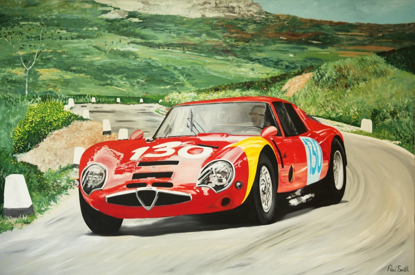 1966 Targa Florio, Luciano Bianchi, Roberto Bussinello.|Alfa Romeo Giulia TZ 2.| Original oil paint on Linen Canvas.|Painting by Artist Paul Smith.|72 x 108 inches (183 x 275 cm).|Price € Sold.