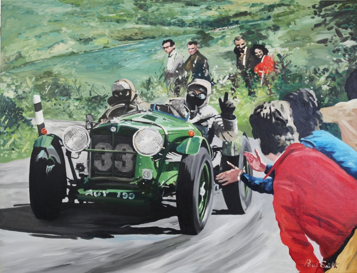 Nicola and Dam  driving a MG NA in a mountain rally.|Original Oil on Linen Canvas Painting by artist Paul Smith.|100 x 130 cm.| � Sold.