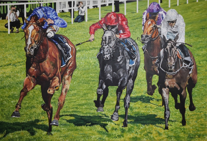 Masar wins 2018 Epsom Derby.|Original Oil on Linen Canvas painting by artist Paul Smith.|72 x 108 inches (183 x 275 cm).|Sold.|