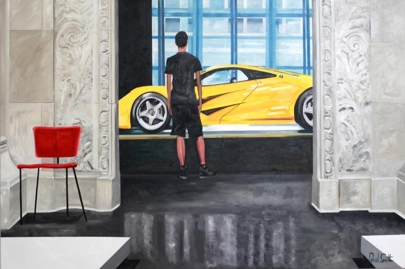 McLaren F1 LM.|Ralf Lauren Collection.|Les Arts Decoratifs Pairs.Original oil on Linen Canvas painting by Artist Paul Smith.|72 x 108 inches (183 x 275 cm).|£ POA