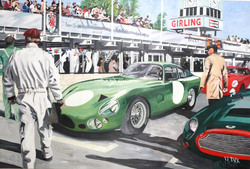Aston Martin DP215 at Goodwood Revival 2006.|Oil on Canvas.|183 x 275 cm (72 x 108 inches).|�Sold