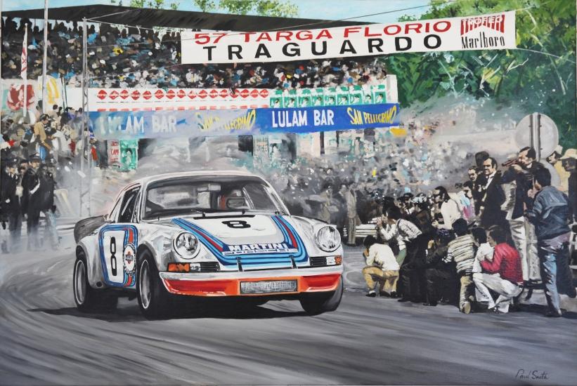1973 Targa Florio,Porsche 911 RSR.|Original oil on linen canvas painting by artist Paul Smith.|Sold