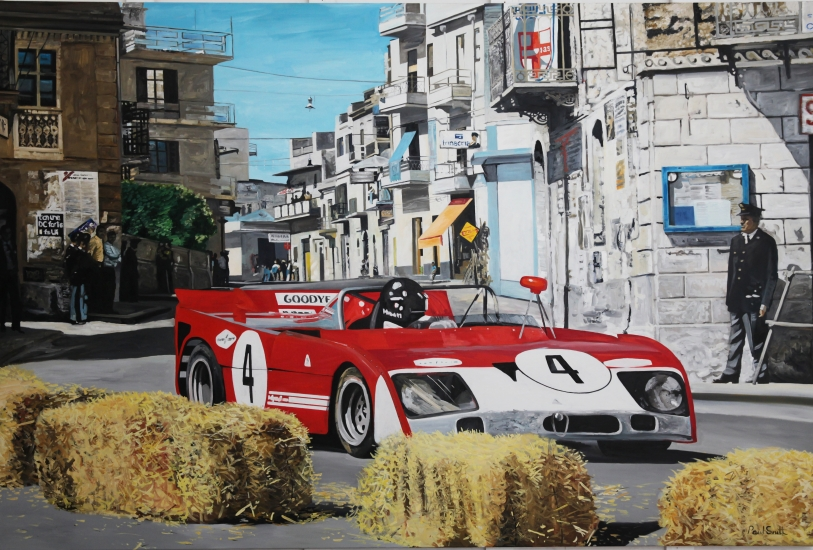 1972 Targa Florio Alfa Romeo T33,| Original Oil on Linen Canvas paiting by Artist Paul Smith.|72 x 108 inches ( 183 x 275cm).|� SOLD