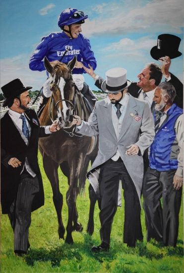 William Buick & Masar, Epsom Derby winner 2018.|Original Oil on Linen Canvas painting by artist Paul Smith.| 108 x 72 inches (275 x 183 cm).|£ POA.