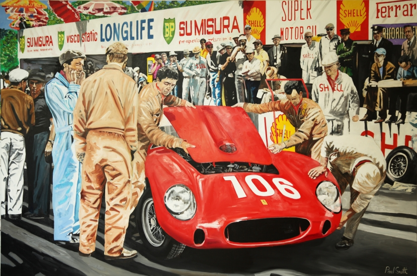1958 Targa Florio. Olivier Gendebien, Luigi Musso, Ferrari Testa Rossa..| Original oil paint on Linen Canvas.|Painting by Artist Paul Smith.|72 x 108 inches (183 x 275 cm).|Price € Sold.