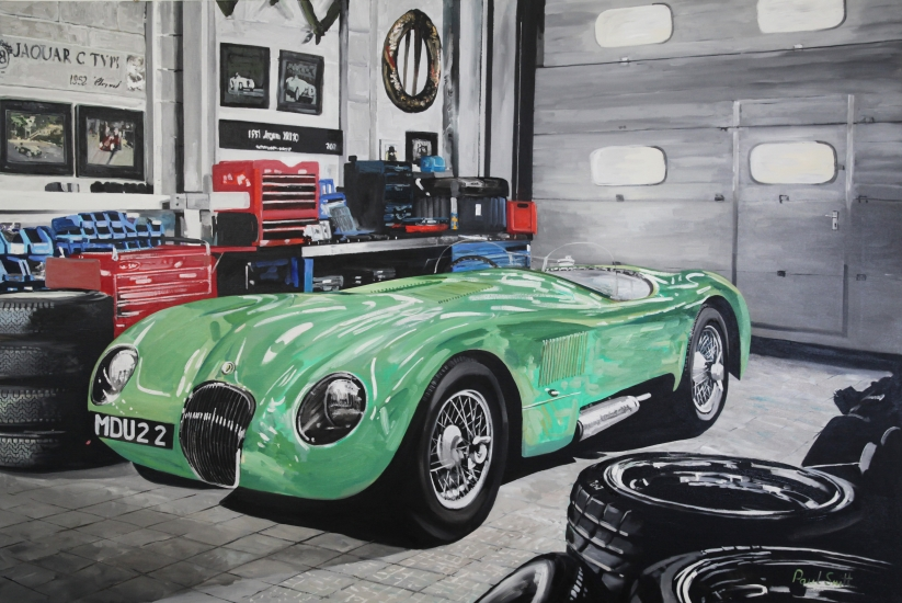 Workshop scene with Mint Green C Type jaguar of Stirling Moss.| Original Oil on Linen Canvas Painting by Artist Paul Smith.| 122 x 183 cm ( 48 x 72 inches).| � Sold