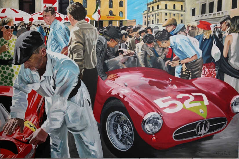 1956 Mille Miglia,|Maserati A6GCS.| Original Oil on Linen Canvas paiting by Artist Paul Smith.|72 x 108 inches ( 183 x 275cm).|For sale POA �