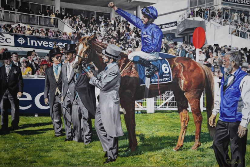 Masar wins 2018 Epsom Derby,Grandstand.|Original Oil on Linen Canvas painting by artist Paul Smith.|72 x 108 inches (183 x 275 cm).|£ POA.