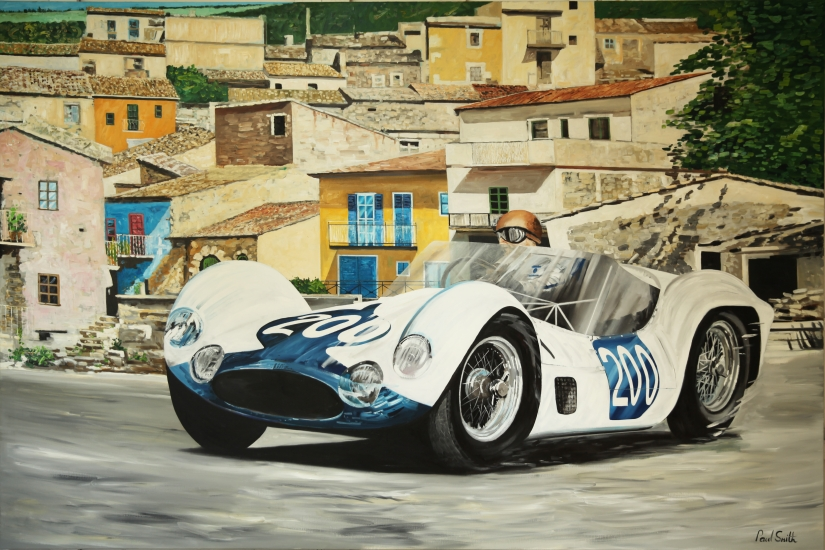 1960 Targa Florio, Nino Vaccarella, Umberto Maglolli, Maserati 61 Birdcage.| Original oil paint on Linen Canvas.|Painting by Artist Paul Smith.|72 x 108 inches (183 x 275 cm).|Price € Sold.