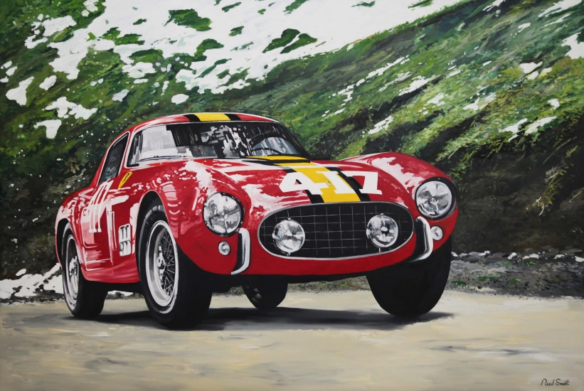 Mille Miglia 1957 Ferrari 250GT Berlinetta,driven by Gendebein and Washer.|Original oil on linen canvas painting by artist Paul Smith.|72 x 108 inches ( 183 x 275cm).| POA  Sold