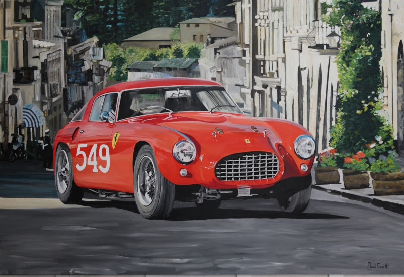 1954 Mille Miglia and Ferrari 250 MM,| Original Oil on Linen Canvas paiting by Artist Paul Smith.|72 x 108 inches ( 183 x 275cm).|For sale SOLD �