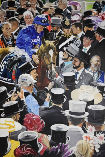 Winners Circle for Godolphin, Masar wins 2018 Epsom Derby.|Original Oil on Linen Canvas painting by artist Paul Smith.| 108 x 72 inches ( 275 x 183 cm).|Sold.|