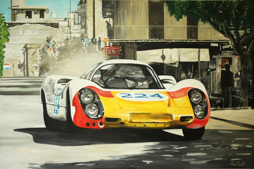 1968 Targa Florio, Vic Elford, Umberto Maglioli, Porsche 907/8..| Original oil paint on Linen Canvas.|Painting by Artist Paul Smith.|72 x 108 inches (183 x 275 cm).|Price € Sold.