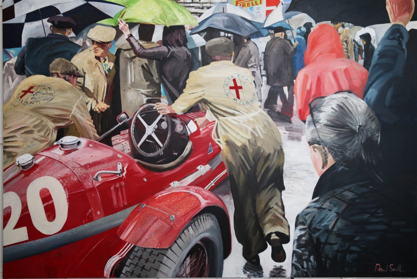Alfa Romeo Monza in the rain at the Mille Miglia,| Original Oil on Linen Canvas painting by Artist Paul Smith.|72 x 108 inches ( 183 x 275cm).|SOLD