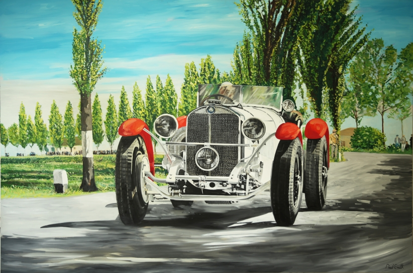 Mille Miglia 1928, Mercedes 710 SSK.| Original oil paint on Linen Canvas.|Painting by Artist Paul Smith.|72 x 108 inches (183 x 275 cm).|Price € Sold.