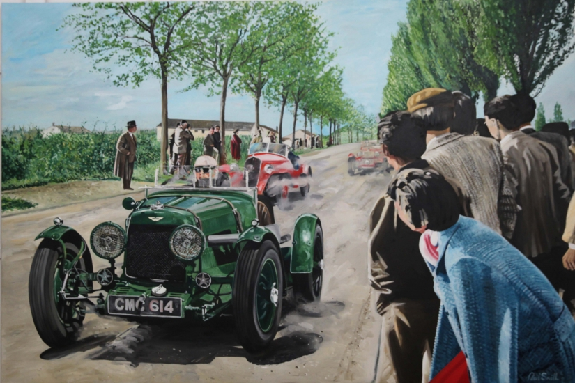 Aston Martin Ulster, Mille Miglia 1936,driven by Clark and Falkner.| Original oil on linen canvas painting by artist Paul Smith.|72 x 108 inches (183 x 275cm).|POA Sold.