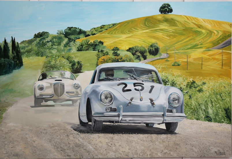 1956 Mille Miglia, Porsche 356 ,| Original Oil on Linen Canvas paiting by Artist Paul Smith.|72 x 108 inches ( 183 x 275cm).|For sale POA �