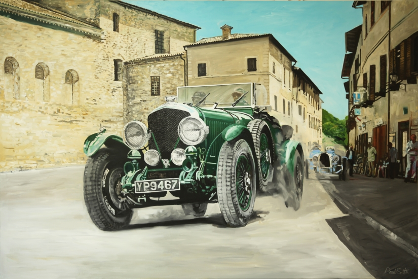 ille Miglia, Bentley 6.5 Litre 1926.| Original oil paint on Linen Canvas.|Painting by Artist Paul Smith.|72 x 108 inches (183 x 275 cm).|Price € Sold.
