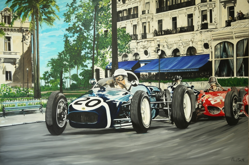 Monaco GP 1961, Stirling Moss Lotus 18.| Original oil paint on Linen Canvas.|Painting by Artist Paul Smith.|72 x 108 inches (183 x 275 cm).|Price € Sold.