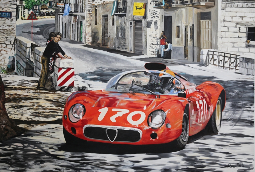 1967 Targa Florio, T33 Alfa Romeo.| Original Oil on Linen Canvas paiting by Artist Paul Smith.|72 x 108 inches ( 183 x 275cm).|SOLD