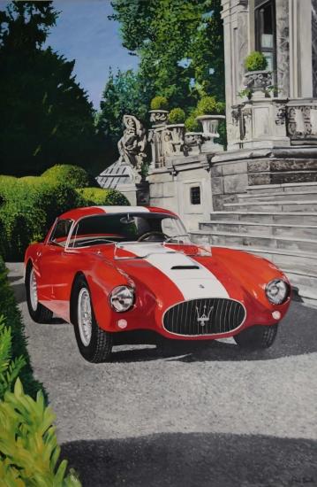 Maserati A6 GCS at concourse d'elegance Ville d'Este. 72 x 108 inches (183 x 275 cm). POA Sold.
