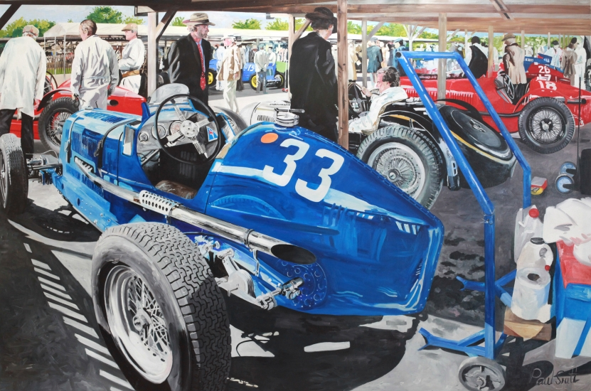 Goodwood Revival Paddock 2012,|ERA and Bugatti.|183 x 275 cm (72 x 108 inches).|Oil on Canvas.|� Sold