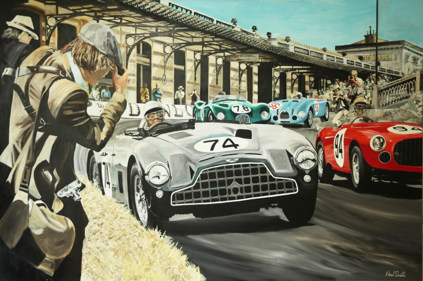 Monaco GP 1952, Aston Martin DB3, Ferrari 275 S, Gordini T16, Jaguar C Type.| Original oil paint on Linen Canvas.|Painting by Artist Paul Smith.|72 x 108 inches (183 x 275 cm).|Price € Sold.