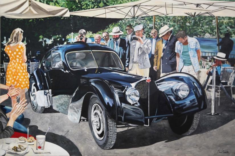 Bugatti Atlantic, Ralf Lauren at concourse d'elegance Ville d'Este. 72 x 108 inches (183 x 275 cm). POA Sold.
