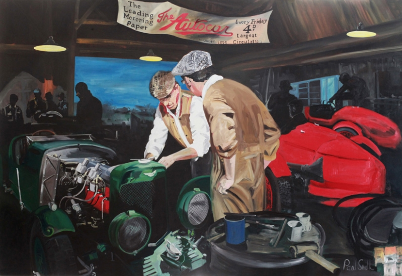 Le Mans 1934 workshop scene,|Aston Martin Ulster.|Oil on Canvas.|183 x 275 cm (72 x 108 inches).|� POA.