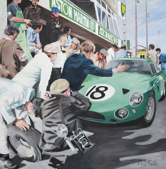 Pit scene,1963 Le Mans.|Aston Martin DP215 driven by|Phil Hill and Lucian Bianchi.|Oil on Canvas.|183 x 183 cm (72 x 72 inches).|� Sold