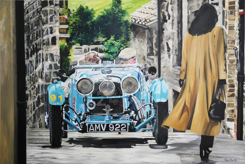1930s Aston Martin at the Mille Miglia,| Original Oil on Linen Canvas paiting by Artist Paul Smith.|72 x 108 inches ( 183 x 275cm).|For sale POA �