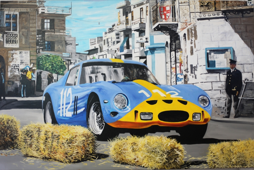 1964 Targa Florio,Ferrari 250 GTO.|Original oil on Linen canvas painting by Artist Paul Smith.|36 x 54 inches (91 x 137cm).|£ POA