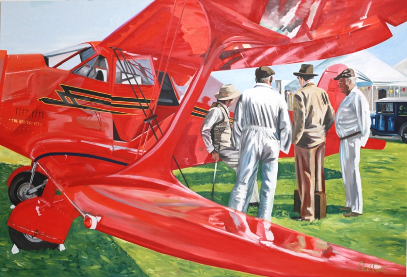 Beechcraft D117-S Stagerwing at Goodwood.|Original oilon linen canvas painting by artist Paul Smith.|72 x108 inches (183 x 275cm).|£ POA.