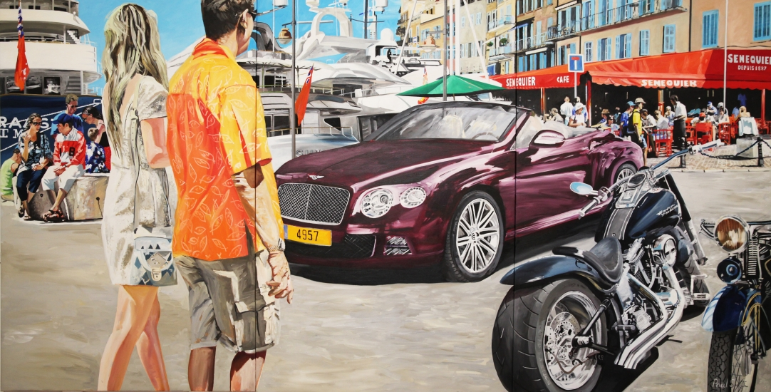Deep purple Bentley continental GT Speed, in St Tropez.| Original oil on linen canvas painting by artist Paul Smith.|Triptych,painted on three separate canvases.|Total dimensions 72 x 144 inches (183 x 366cm).|SOLD