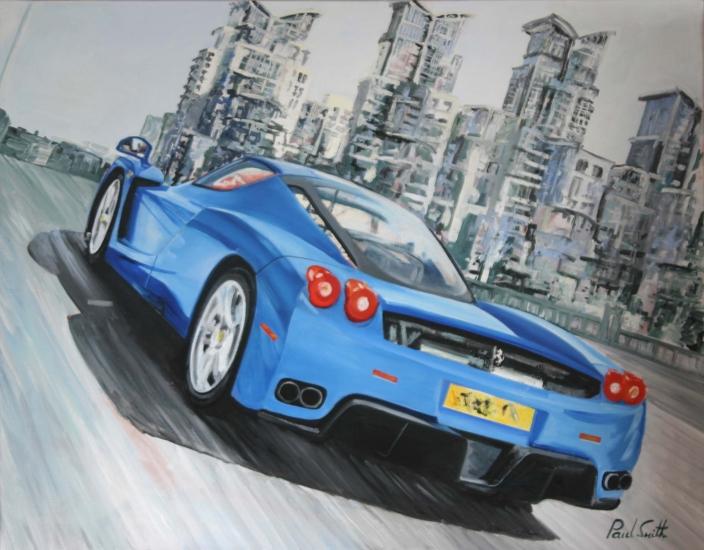 Morning blast over Vauxhall bridge . Oil on canvas 36 x 46 inches (91 x 117 cm). � POA