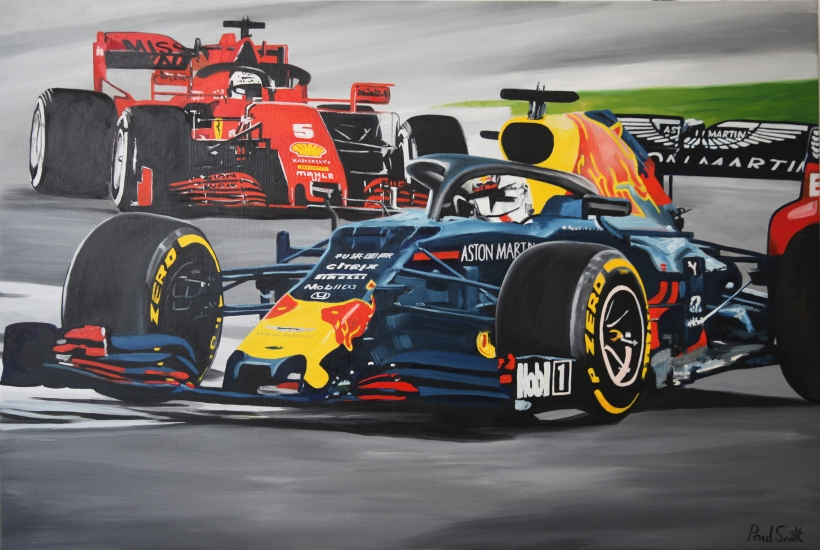 2019 Abu Dhabi F1 GP.|Original Oil Painting on linen canvas, by artist Paul Smith.|80 x 120 cm.|SOLD