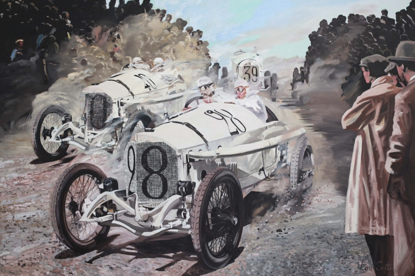 French GP 1914 ,Mercedes made a triumphant race finishing first,second and third.|Oil on canvas.|72 x 108 inches ( 183 x 275 cm).|Sold