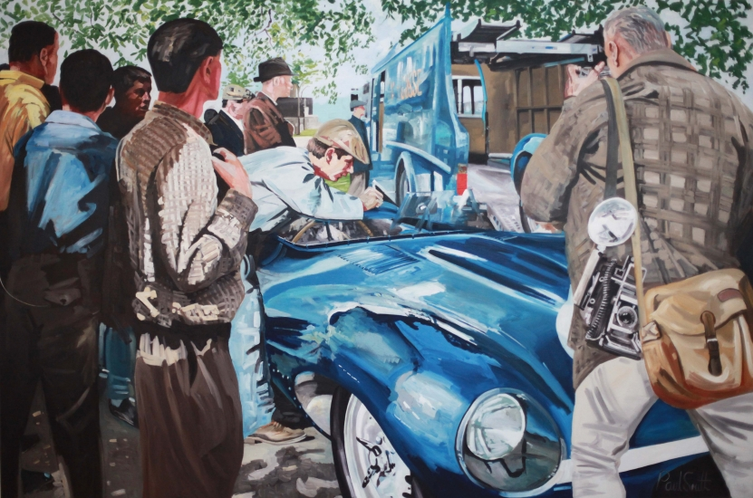 Ecurie Ecosse win 1957 Le Mans.|Driven by Flockhart and Bueb.|Jaguar D Type.|72 x 108 inches (183 x 275 cm)|�Sold