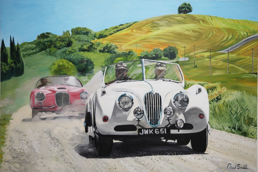 Jaguar XK 120 and Lancia Aurelia,on the Mille Miglia.|Original oil on canvas painting by artist Paul Smith.|Dimension 48 x 72 inches,(122 x 183cm).|£ Sold