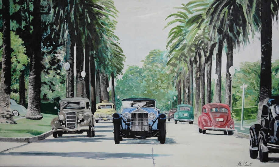 1928 Rolls Royce Phantom in California.|Original oil on canvas painting by artist Paul Smith.|Dimensions 36 x 60 inches (91 x 152 cm).|� sold