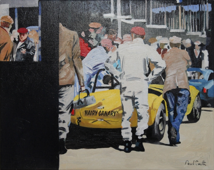 Paddock scene with Shelby AC Cobra, Hairy Canary.|Original oil on canvas painting by artist Paul Smith|16 x 20 inches (41 x 51 cm).| Oil on canvas.|ï£ POA.