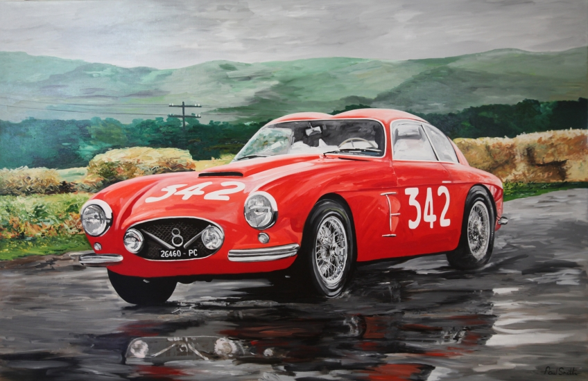 1956 Mille Miglia.||Fiat V8 Zagato.|Origianl oil on canvas painting by artist Paul Smith.|Dimensions 72 x 108 inches (183 x 275 cm).|� SOLD