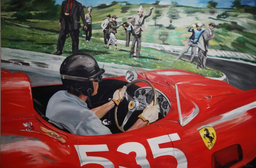 Piero Taruffi Ferrari 315s, winner the last Mille Miglia 1957.|Original oil on linen canvas painting by artist Paul Smith.|72 x 108 inches ( 183 x 275 cm).|ï£ POA.