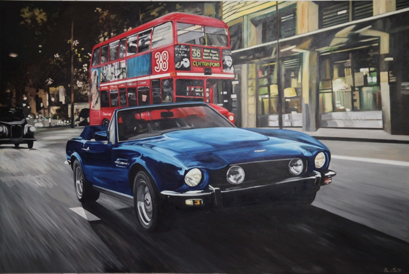Friday evening in London with Aston Martin.|Original oil on linen canvas painting by artist Paul Smith.|72 x 108 inches ( 183 x 275 cm).|£ POA