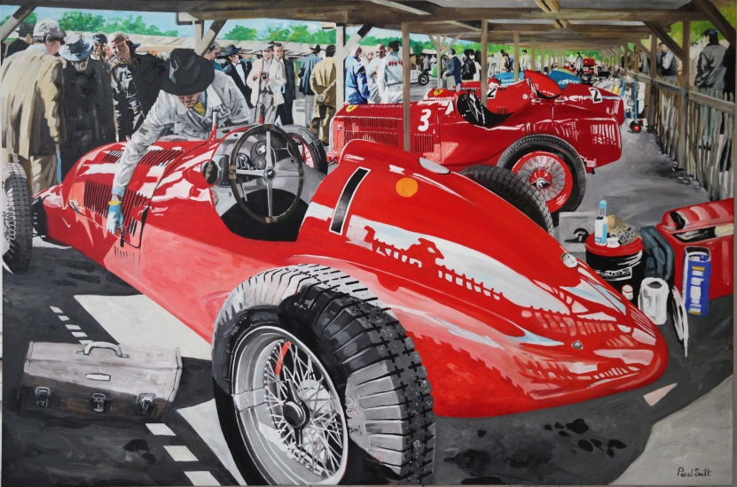 Goodwood Revival in the Paddock.|Original oil on linen canvas painting by artist Paul Smith.|48 x 72 inches (122 x 183 cm).|£ Sold.