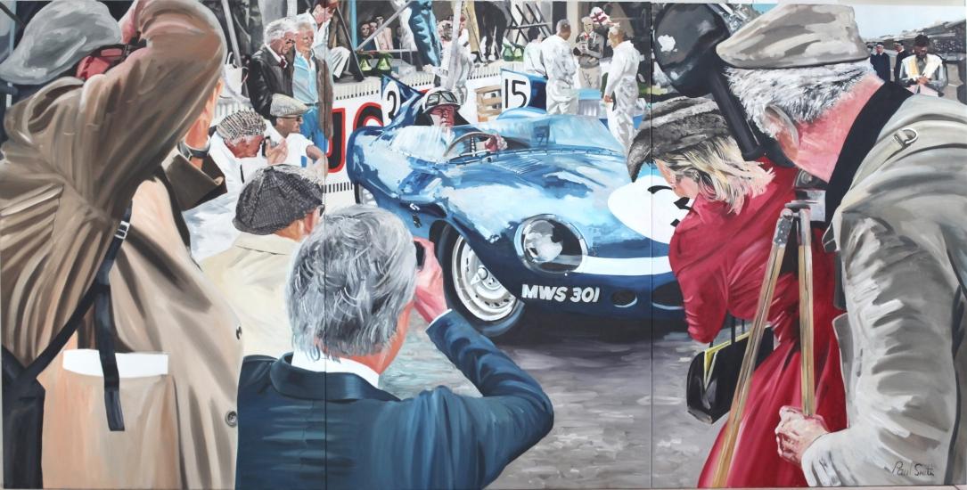 Le Mans 1957 pit lane view Eccuie Ecosse Jaguar D Type, Driven by Ron Flockhart and Ivor Bueb.  Triptych,painted on 3 separate canvas. Original Oil on canvas painting. 72 x 144 inches (183 x 366 cm).  **�** POA