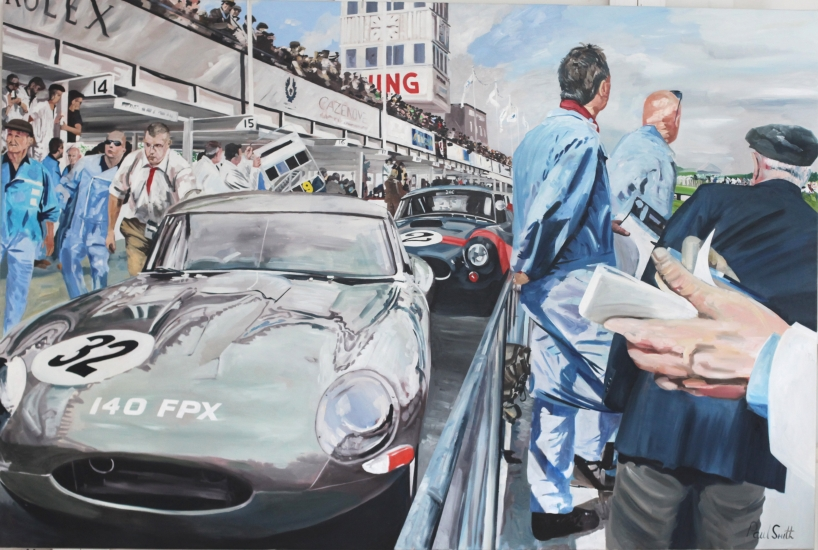 Goodwood TT 2014,|Jaguar E type and the winning AC Cobra,|In the Pit Lane 72 x 108 inches (183 x 275 cm).|� POA