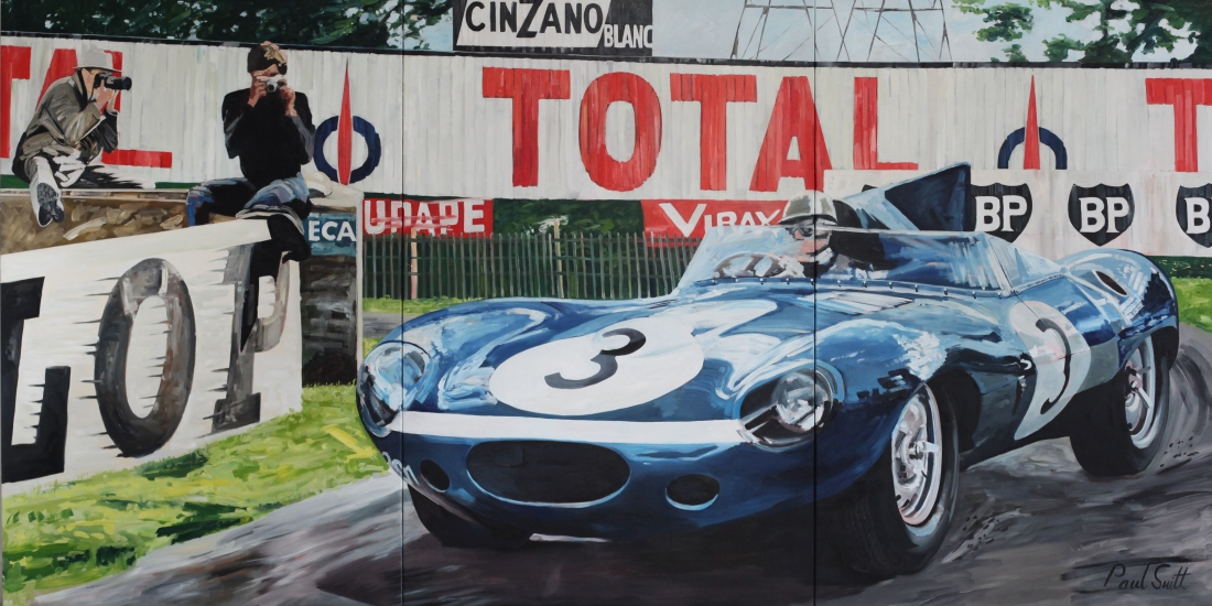 Le Mans 1957.|The winning Jaguar D Type,|Eccurie Ecosse,driven by Ron Flockhart and Ivor Bueb.|Triptych,painted on 3 separate canvas.|Original Oil on canvas painting.|72 x 144 inches (183 x 366 cm).|� POA|