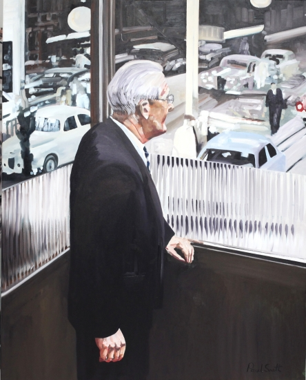 Sir William Lyons, Looking over the Jaguar assembly area.|60 x 48 inches (152 x 122 cm).|� POA